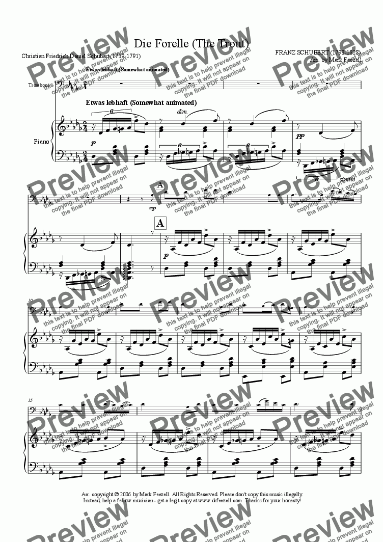 page one of Schubert, Franz: Die Forelle (The Trout), arrangement for Trombone solo and piano