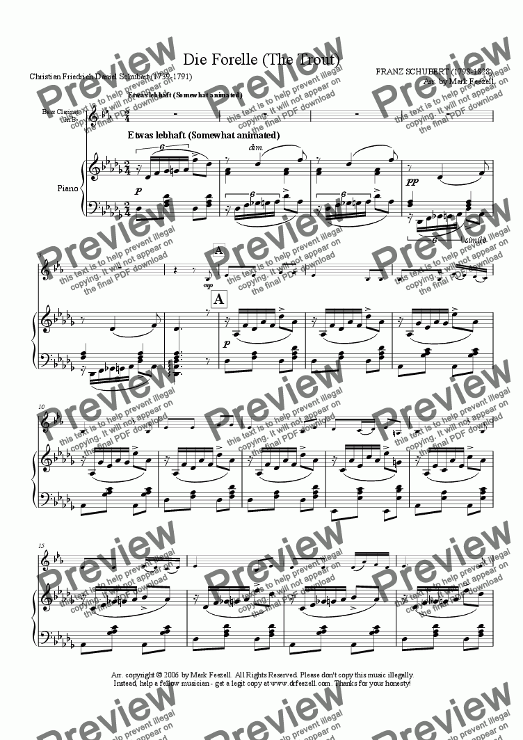 page one of Schubert, Franz: Die Forelle (The Trout), arrangement for Bass Clarinet solo and piano
