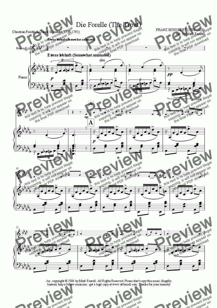 page one of Schubert, Franz: Die Forelle (The Trout), arrangement for French Horn in F solo and piano