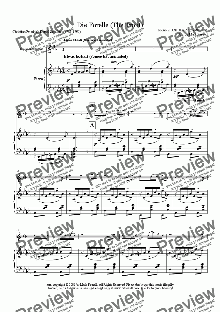 page one of Schubert, Franz: Die Forelle (The Trout), arrangement for Soprano Sax solo and piano