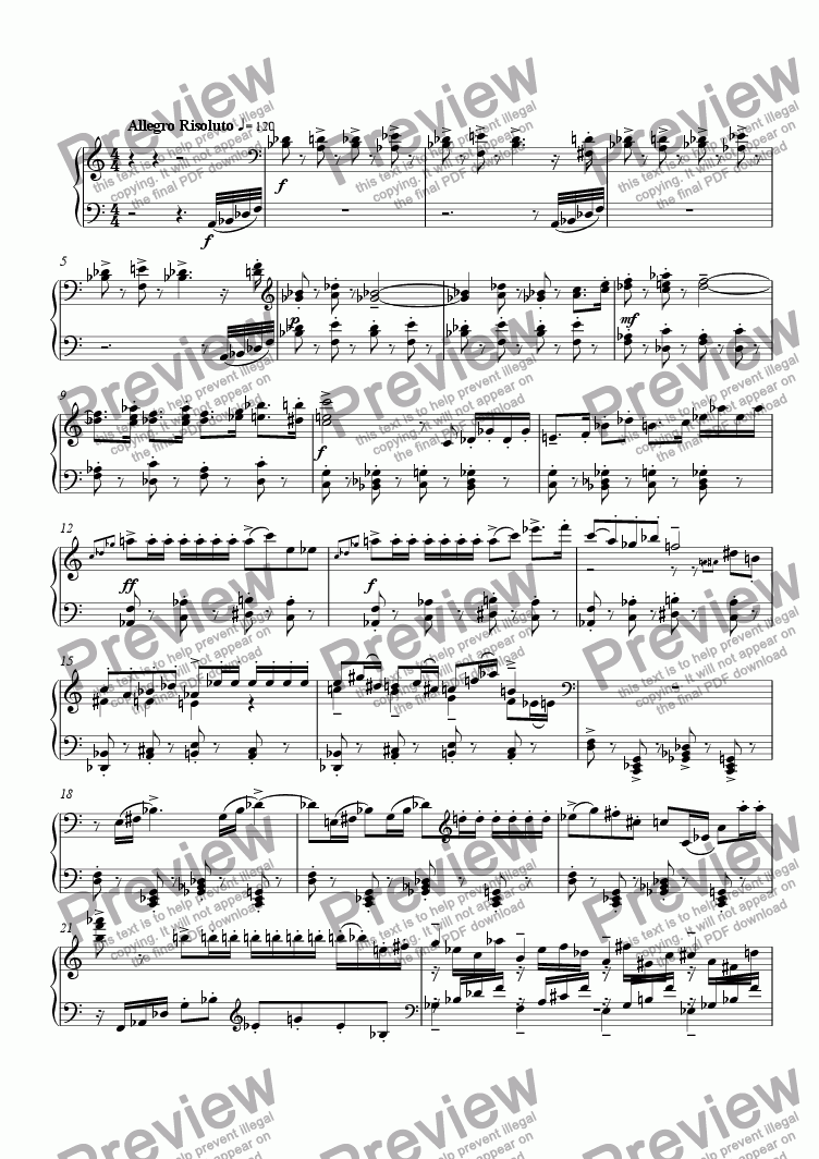 page one of Piano Sonata #2, 1st Movement