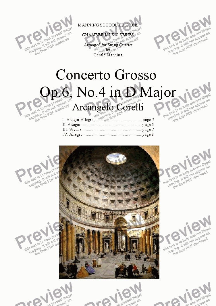 page one of CORELLI, A. - Concerto Grosso No. 4 in D major - arr. for String Quartet by Gerald Manning