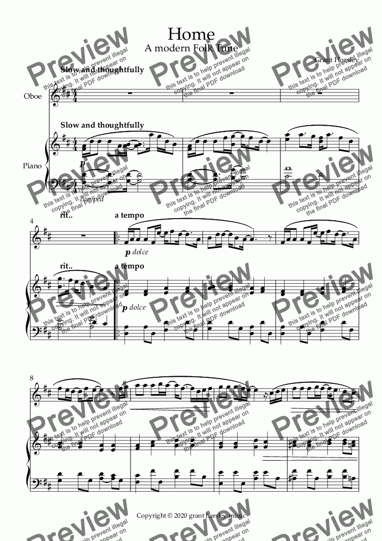 "page one of ""Home"" A Modern Folk Tune for Oboe and Piano- Intermediate"