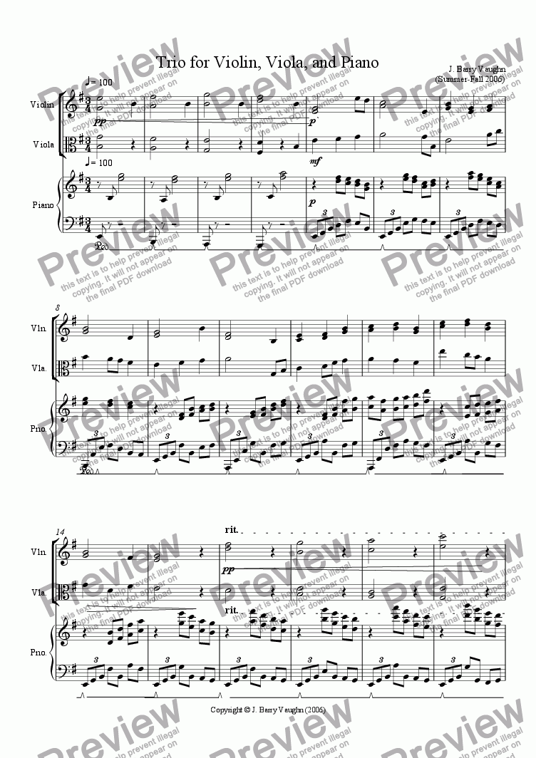 page one of Trio for Violin, Viola, and Piano