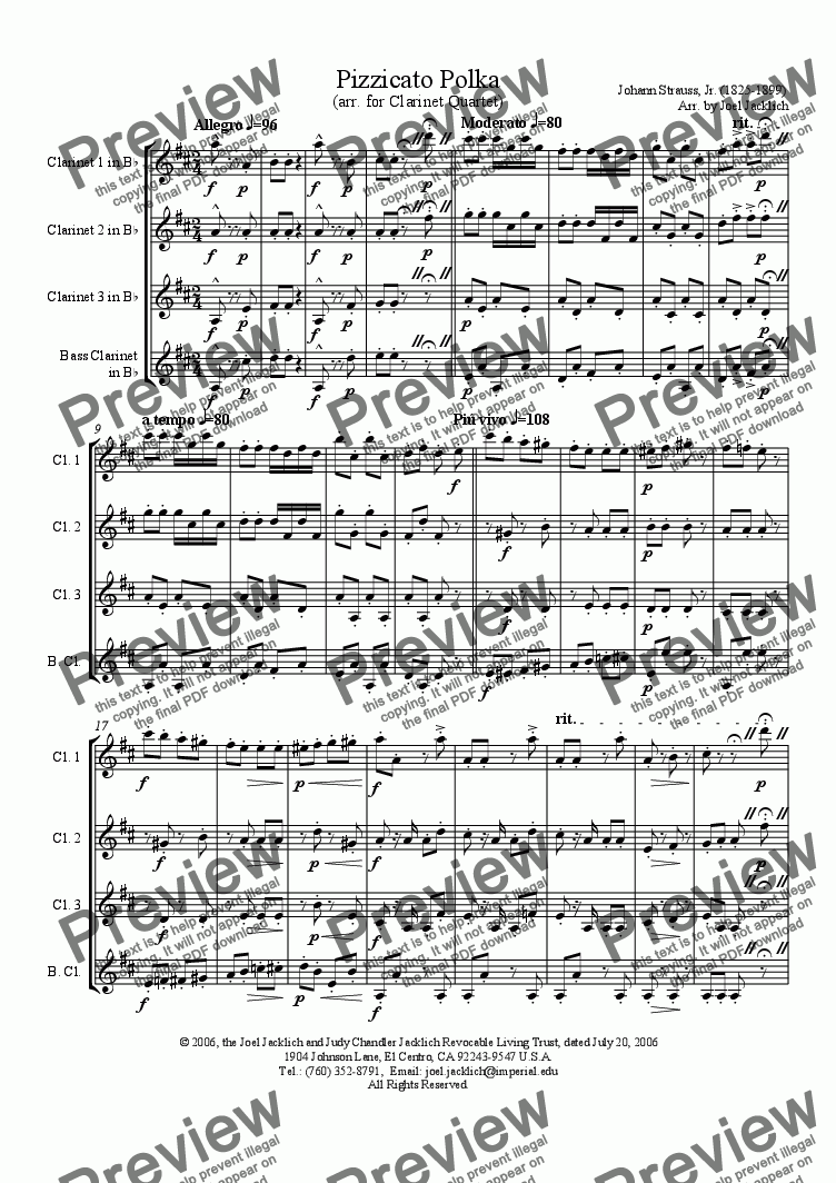 page one of Pizzicato Polka (arr. for Clarinet Quartet)