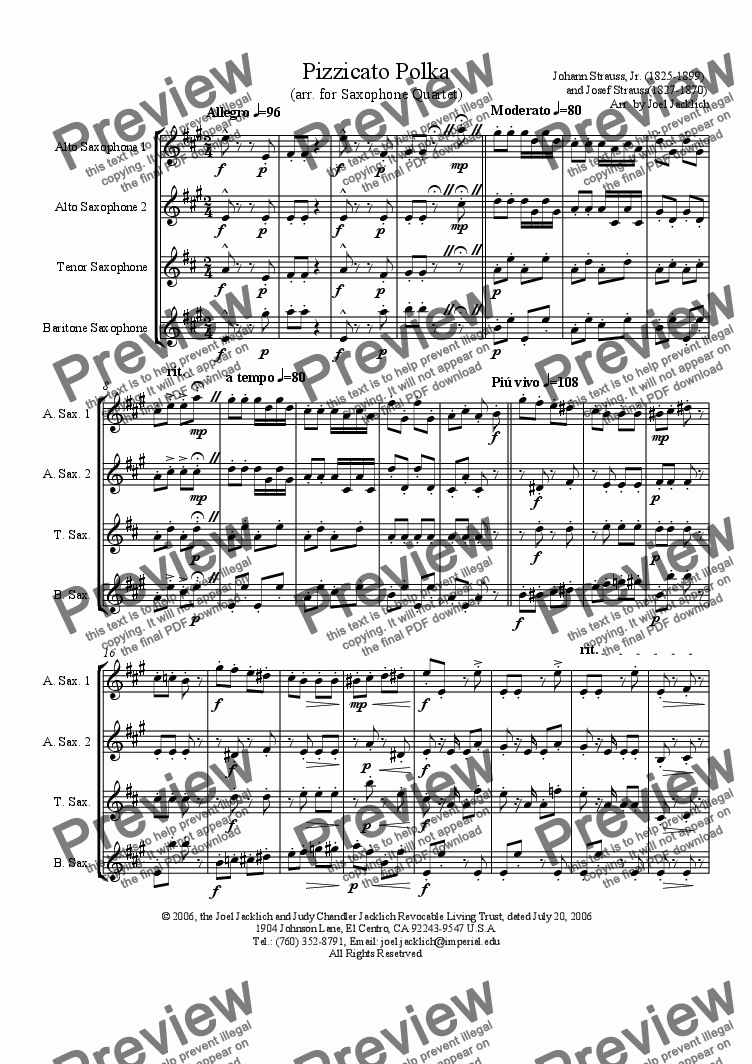 page one of Pizzicato Polka (arr. for Saxophone Quartet--2A,T,B)