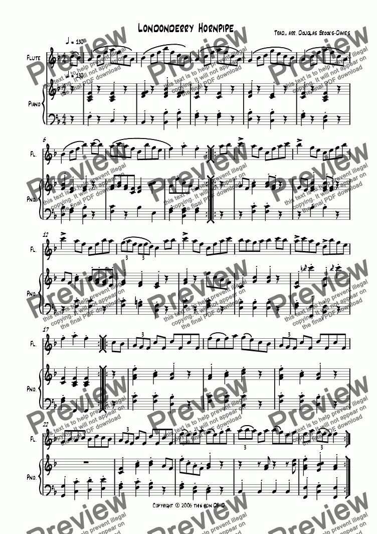 page one of Hornpipe: Londonderry hornpipe (for flute and piano)