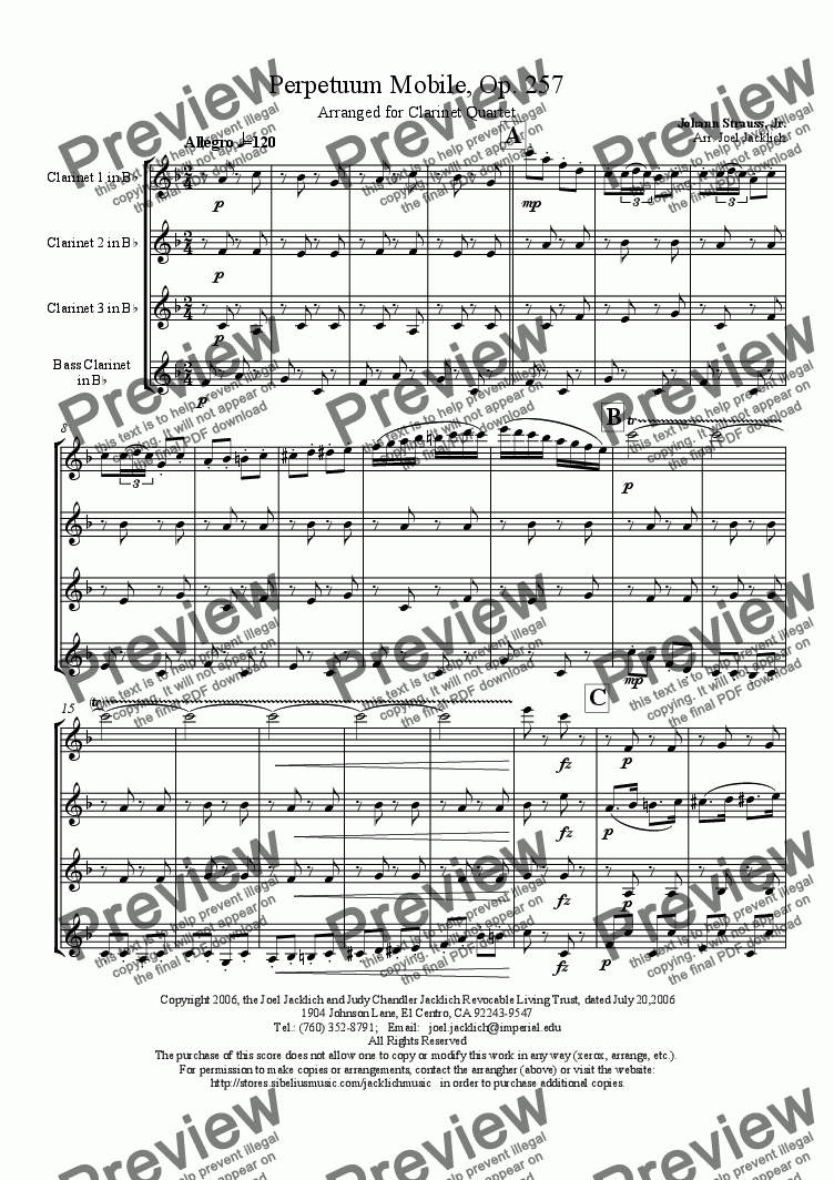 page one of Perpetuum Mobile, Op. 257 (Clarinet Quartet)