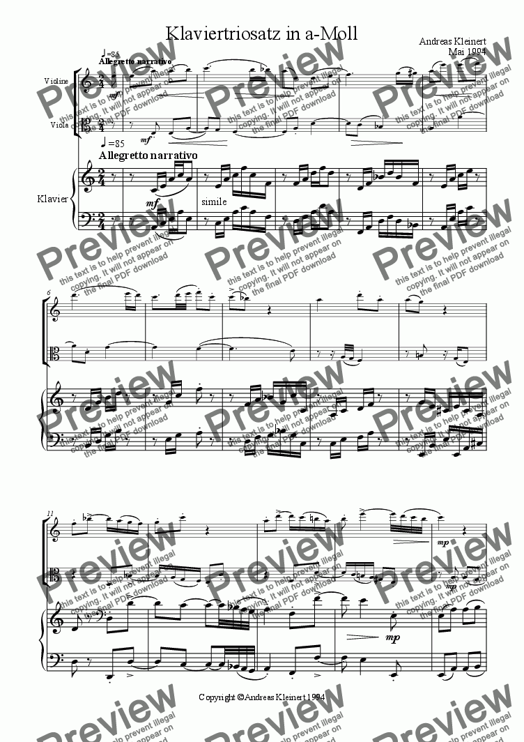 page one of Allegretto narrativo