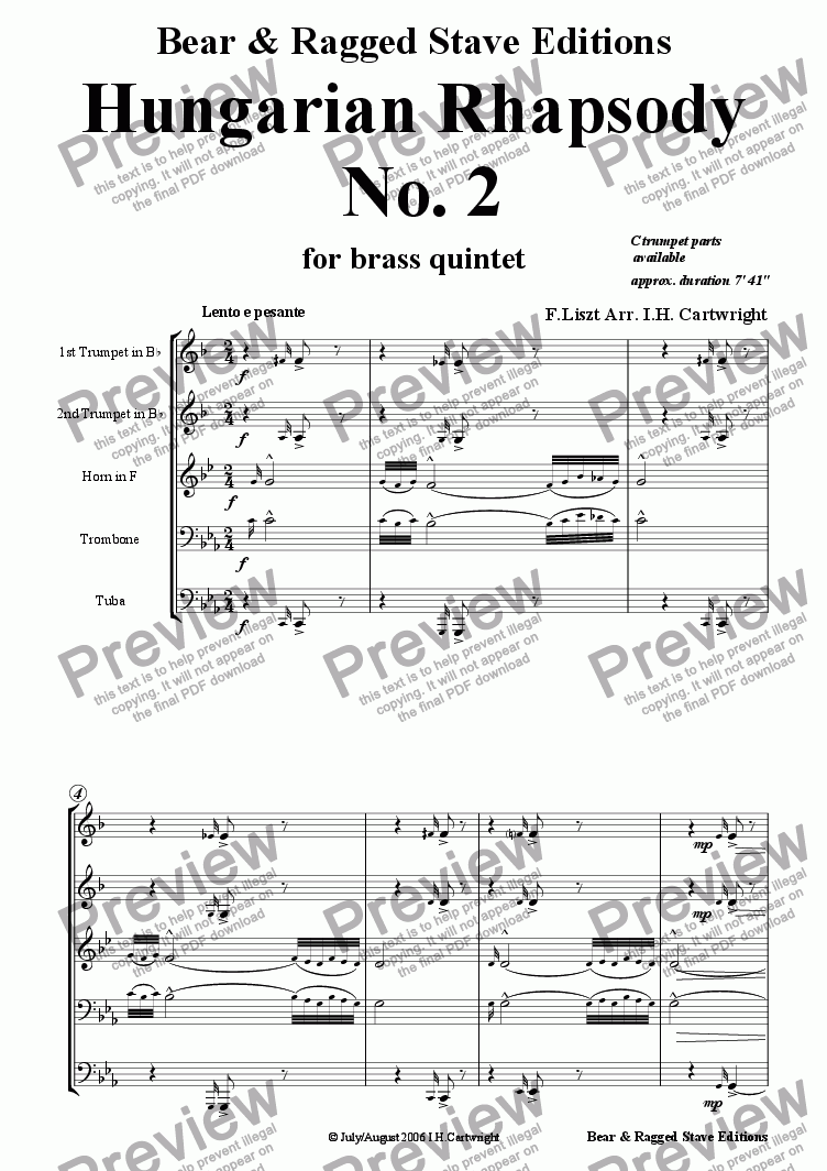 page one of Hungarian Rhapsody No. 2 for brass quintet