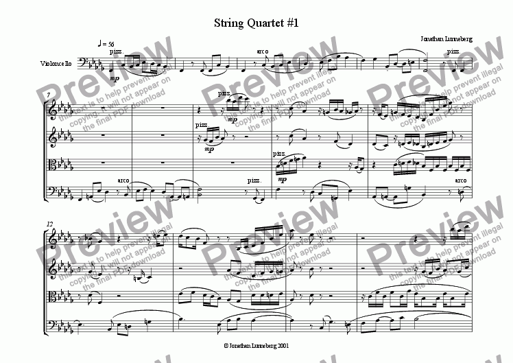 page one of String Quartet #1