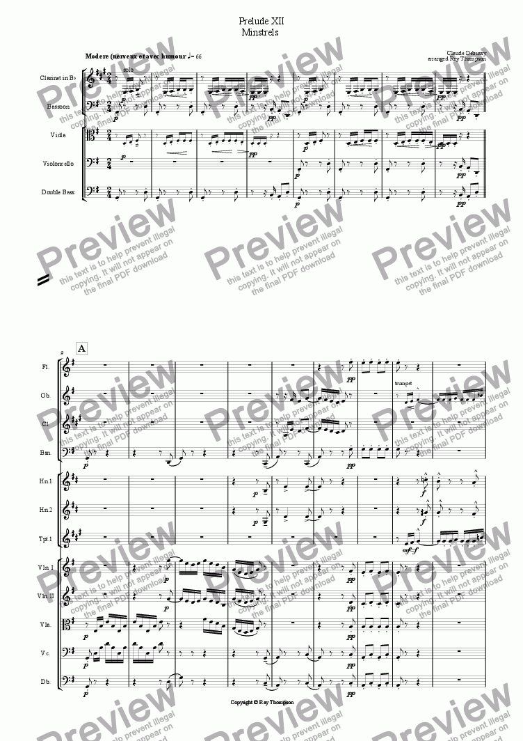 page one of Piano Preludes Book 1: 12. Minstrels