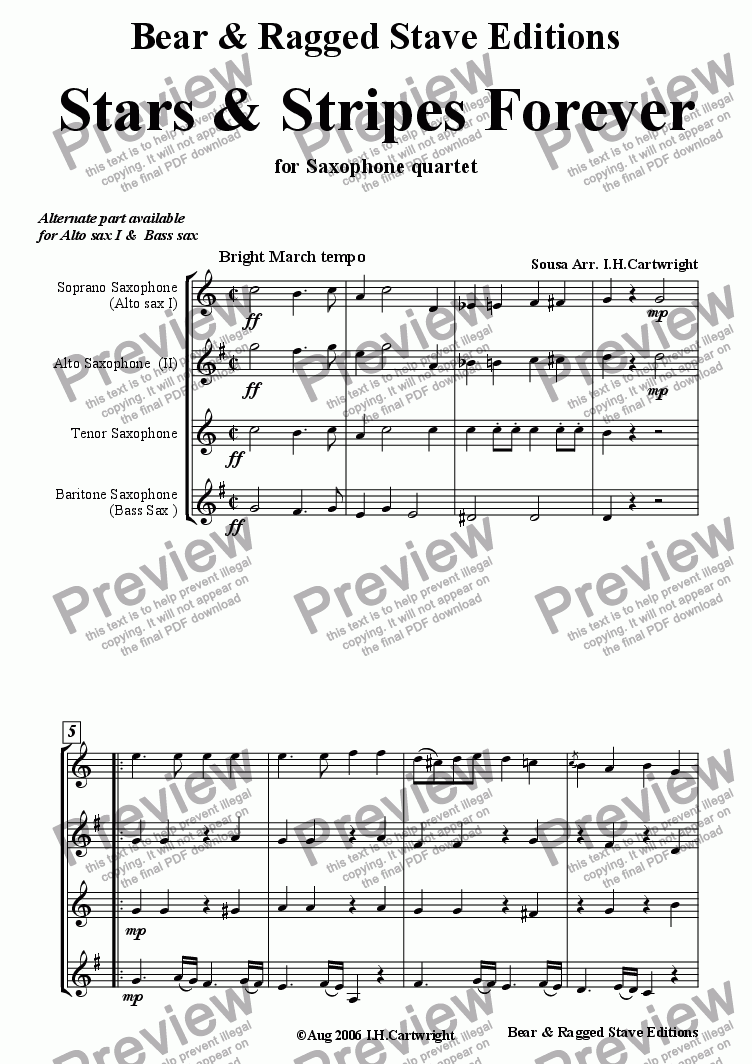 page one of Stars & Stripes Forever for Saxophone Quartet