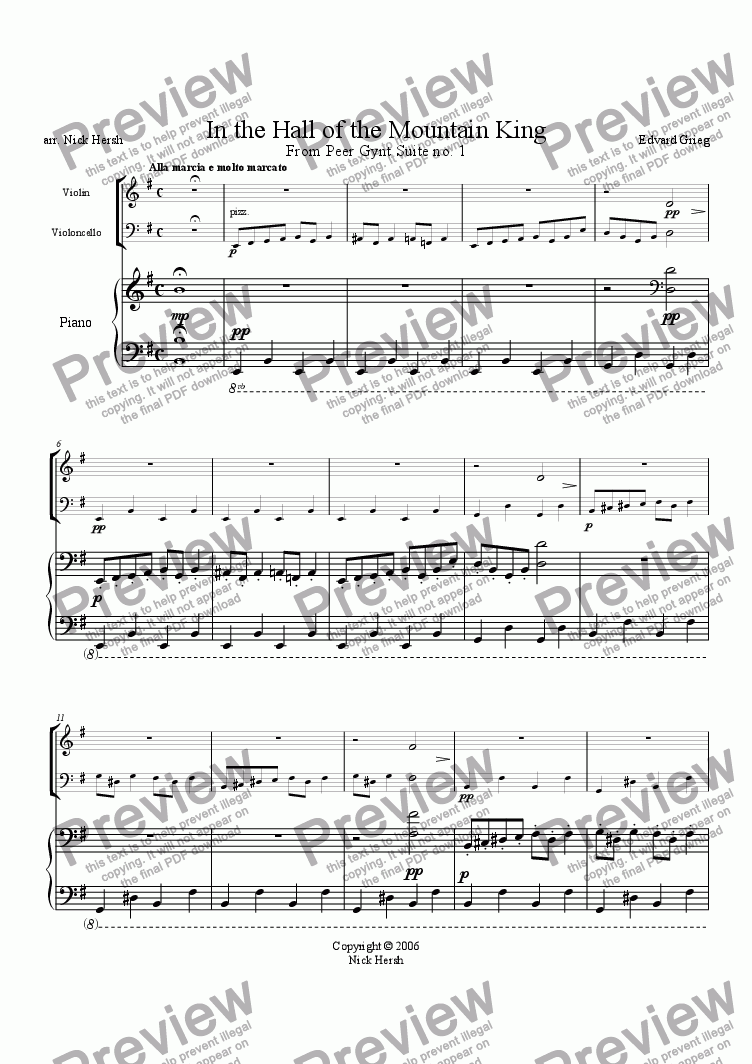 page one of In the Hall of the Mountain King [Piano Trio]
