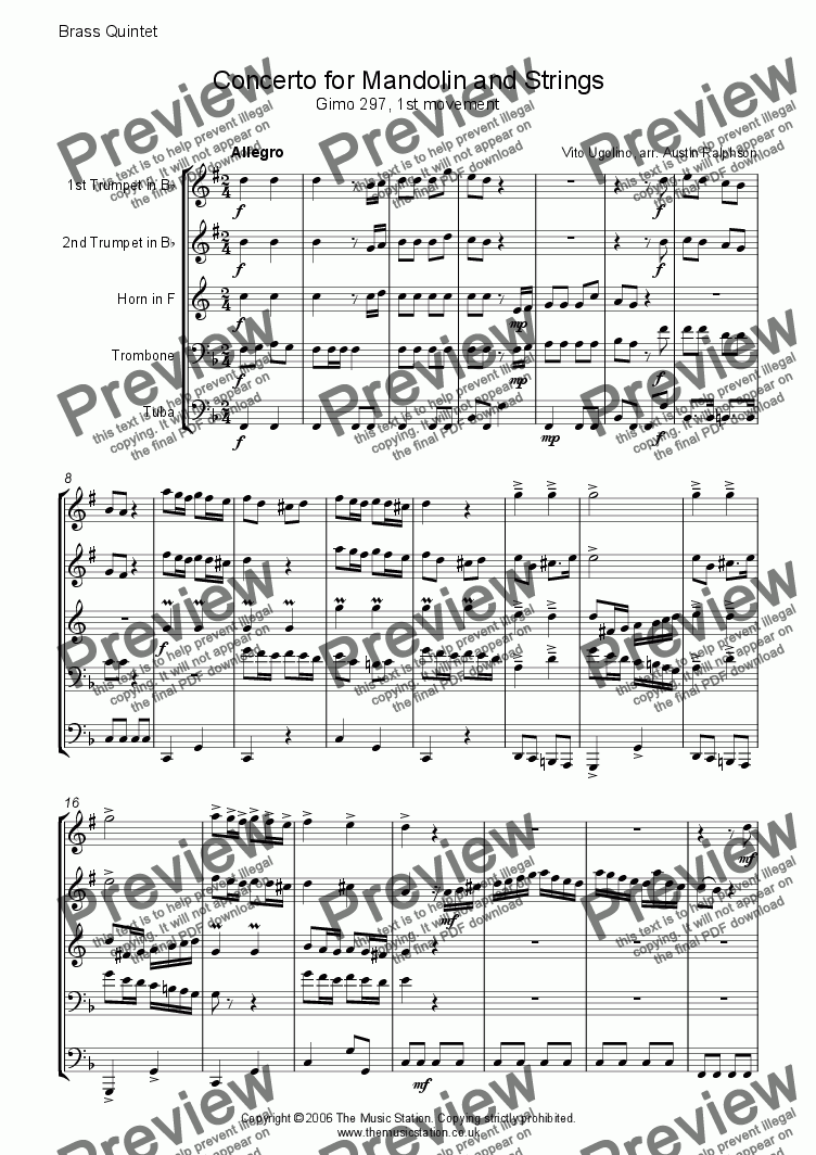 page one of Concerto for Mandolin and Strings (1st mvt) Gimo 297 - brass quintet