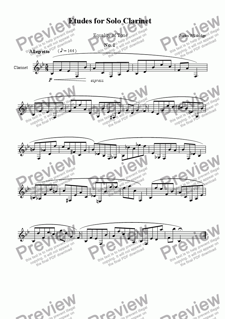 page one of Advanced Studies for Solo Clarinet (Tone Production)