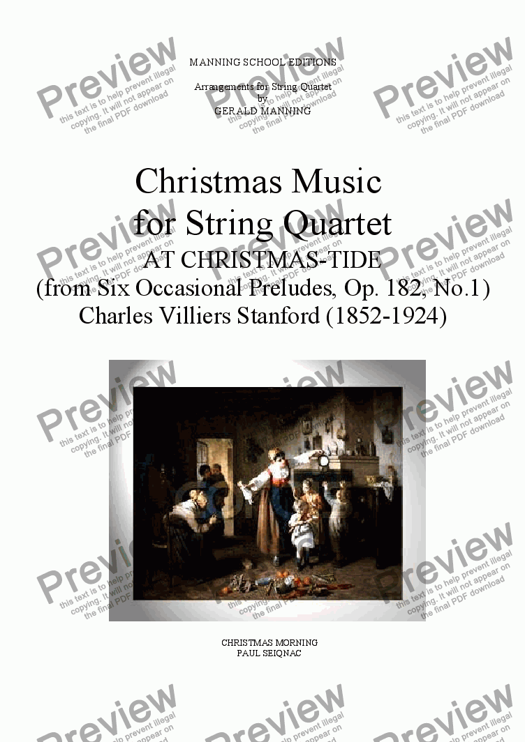 page one of Christmas Music for String Quartet: Stanford, C.V.- At Christmas-Tide - arr. by Gerald Manning