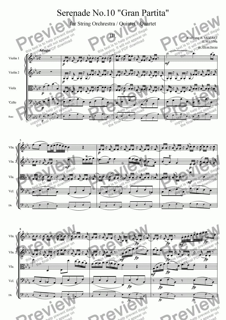 String Quartet No. 10, Movement 3 - Score