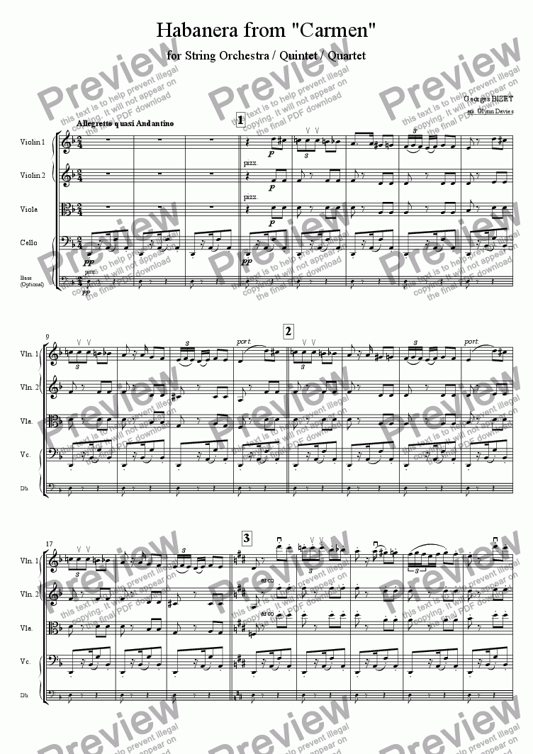 "page one of Habanera from ""Carmen"""