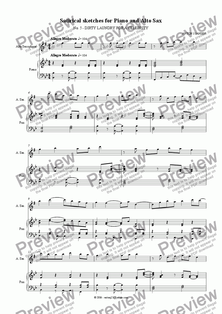 page one of Satirical Sketches for Piano & Alto Sax, No 5 - Dirty Laundry for a Celebrity