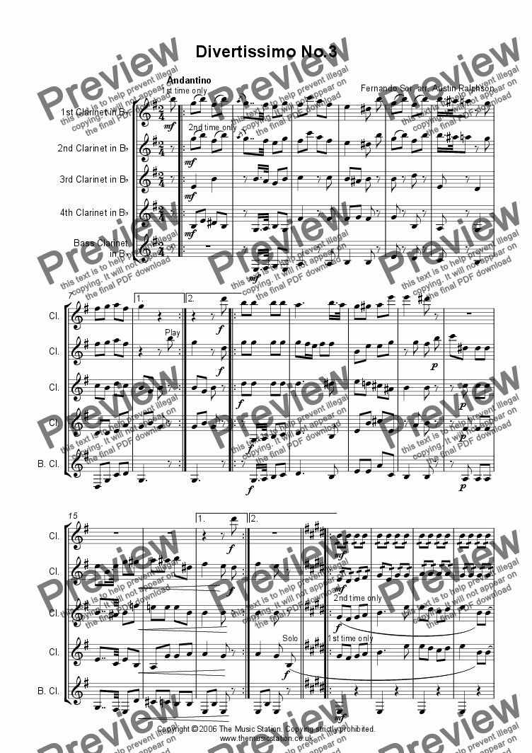 page one of Divertissimo No.3 (Andantino) - clarinet quintet