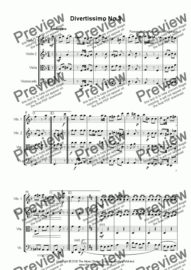 page one of Divertissimo No.3 (Andantino) - string quartet
