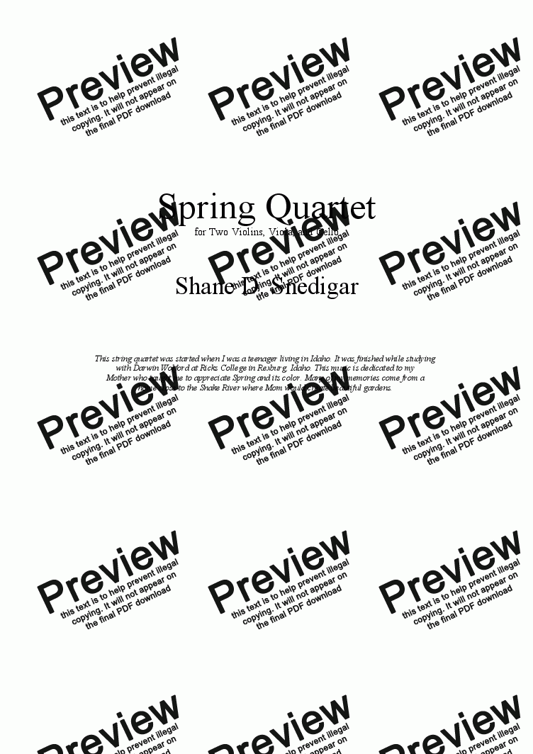 page one of Spring Quartet