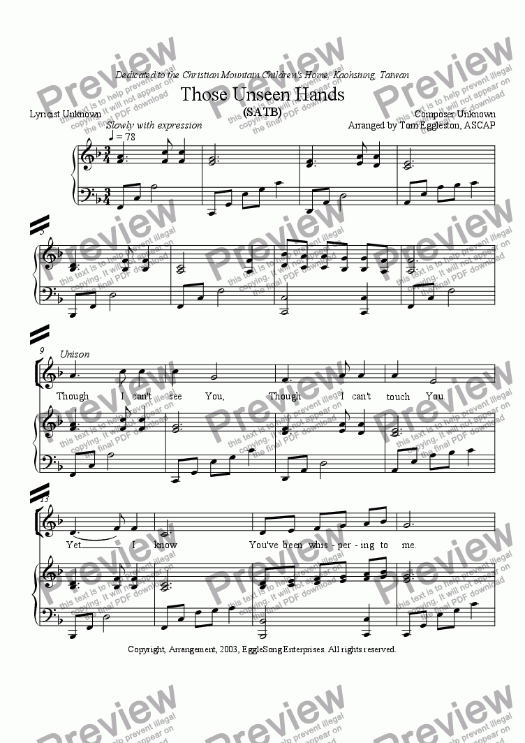 page one of Those Unseen Hands (SATB)