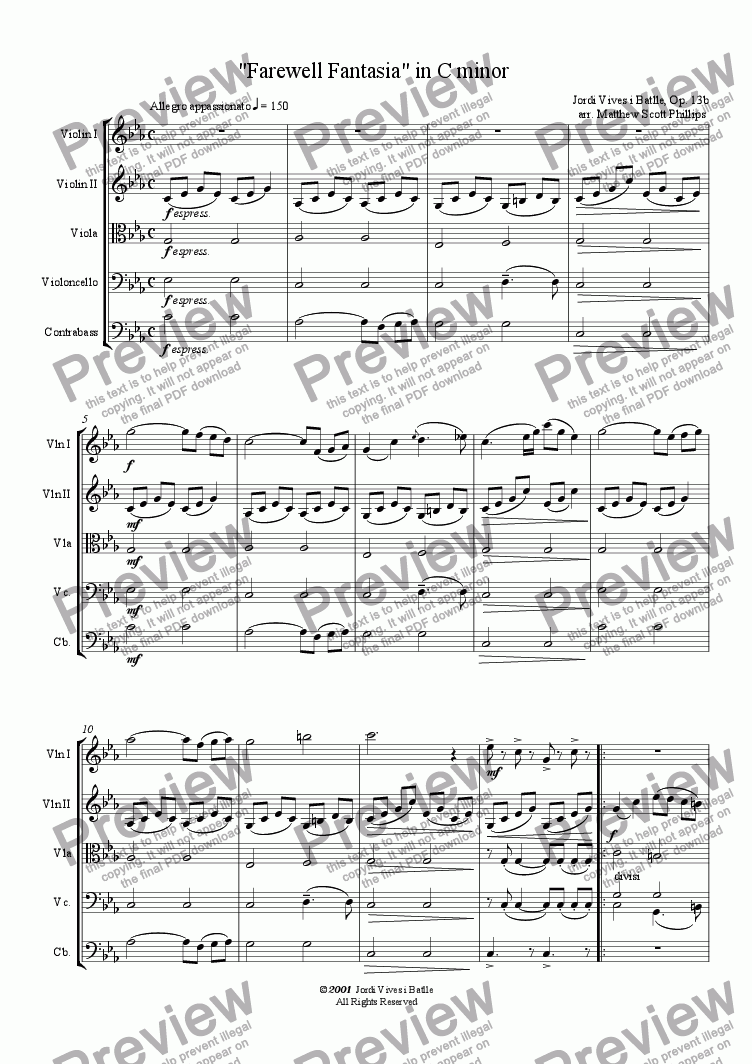 "page one of ""Farewell"" Fantasia"