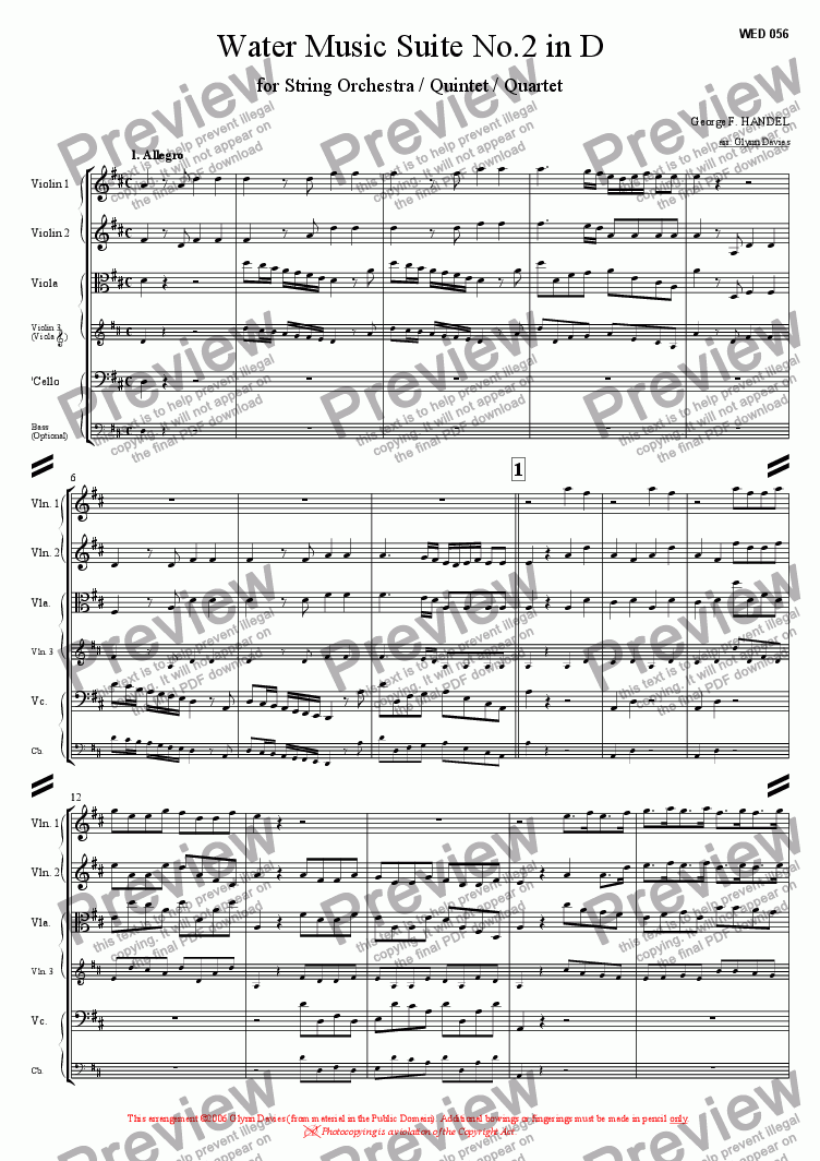 page one of Water Music Suite No.2 in D