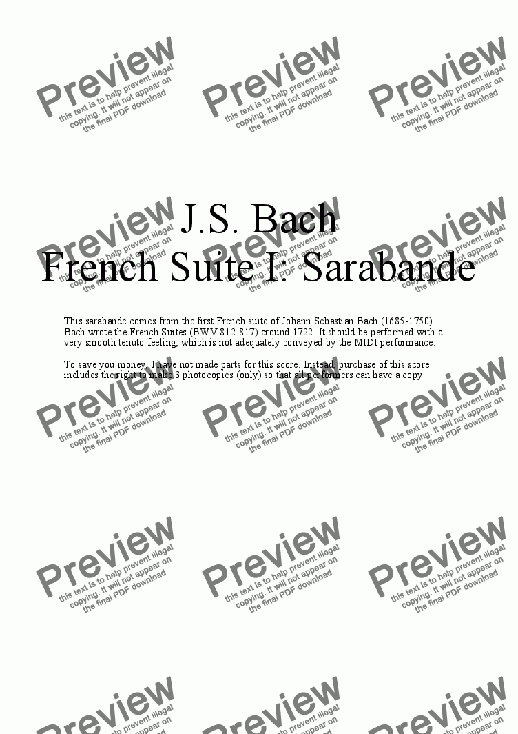 page one of French Suite I: Sarabande by J.S. Bach, arr. for Saxophone Quartet