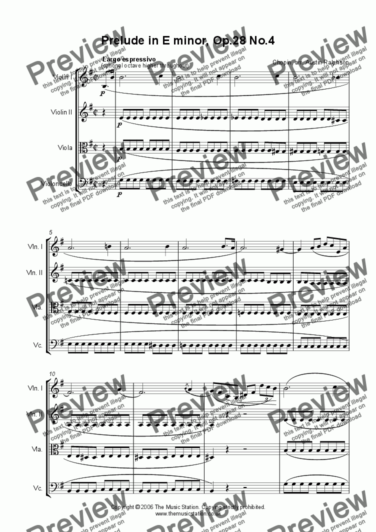 page one of Prelude in E minor, Op.28 No.4 VIOLIN SOLO - string quartet