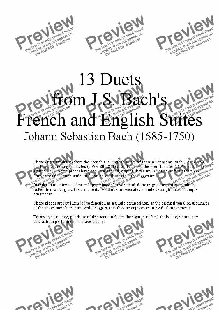 page one of 13 Duets for Violin and Cello from Bach's English Suites and French Suites