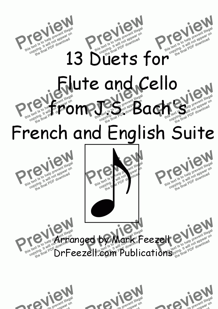 page one of 13 Duets for Flute and Cello from Bach's English Suites and French Suites