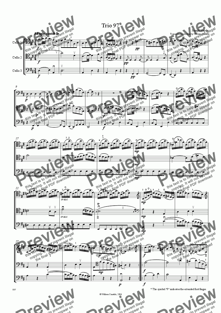 page one of Trio #97 in D for 3 Celli