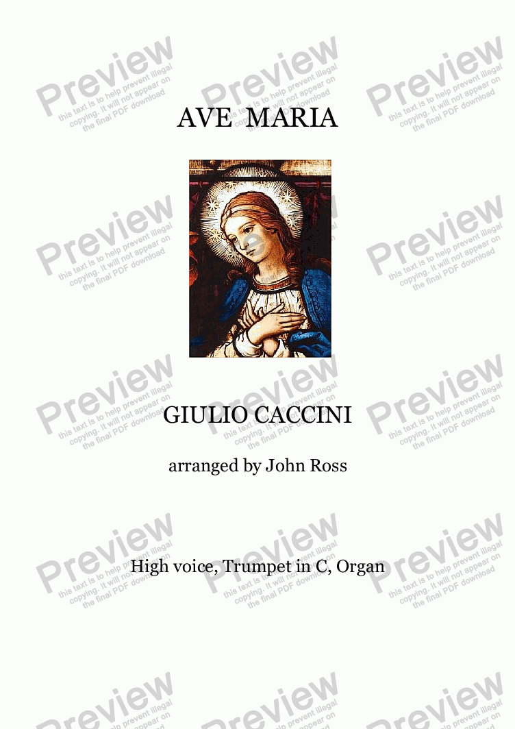 page one of Ave Maria (Caccini) (High voice, Trumpet in C, Organ) - Score and parts