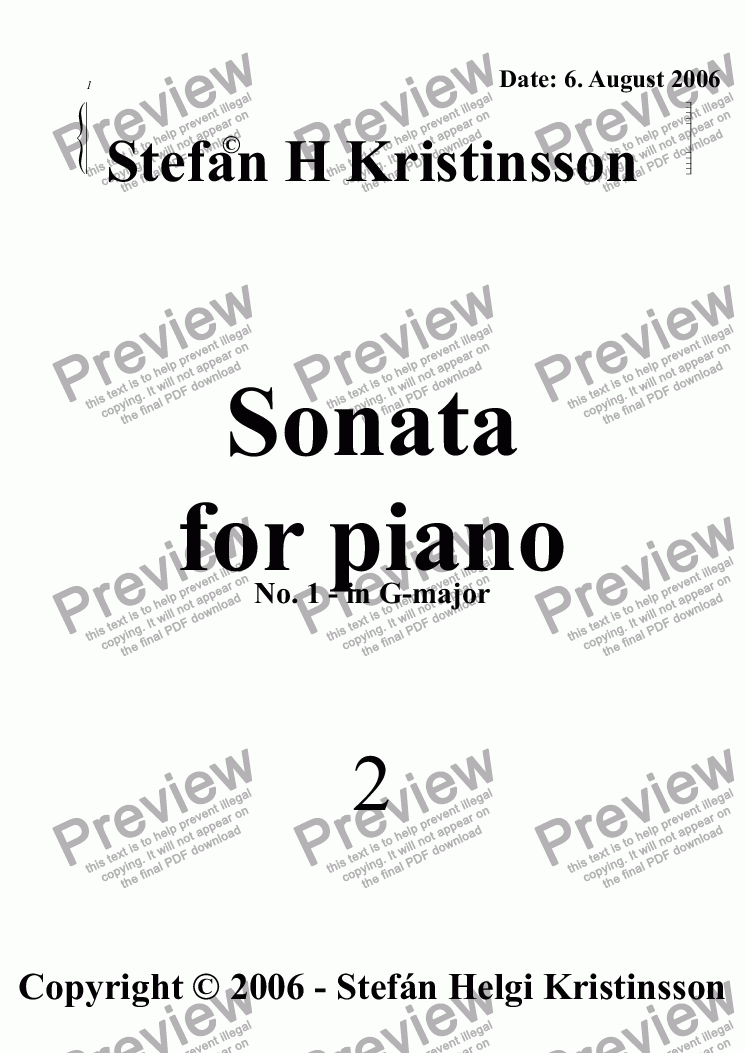 page one of Piano Sonata no.1 in G-major