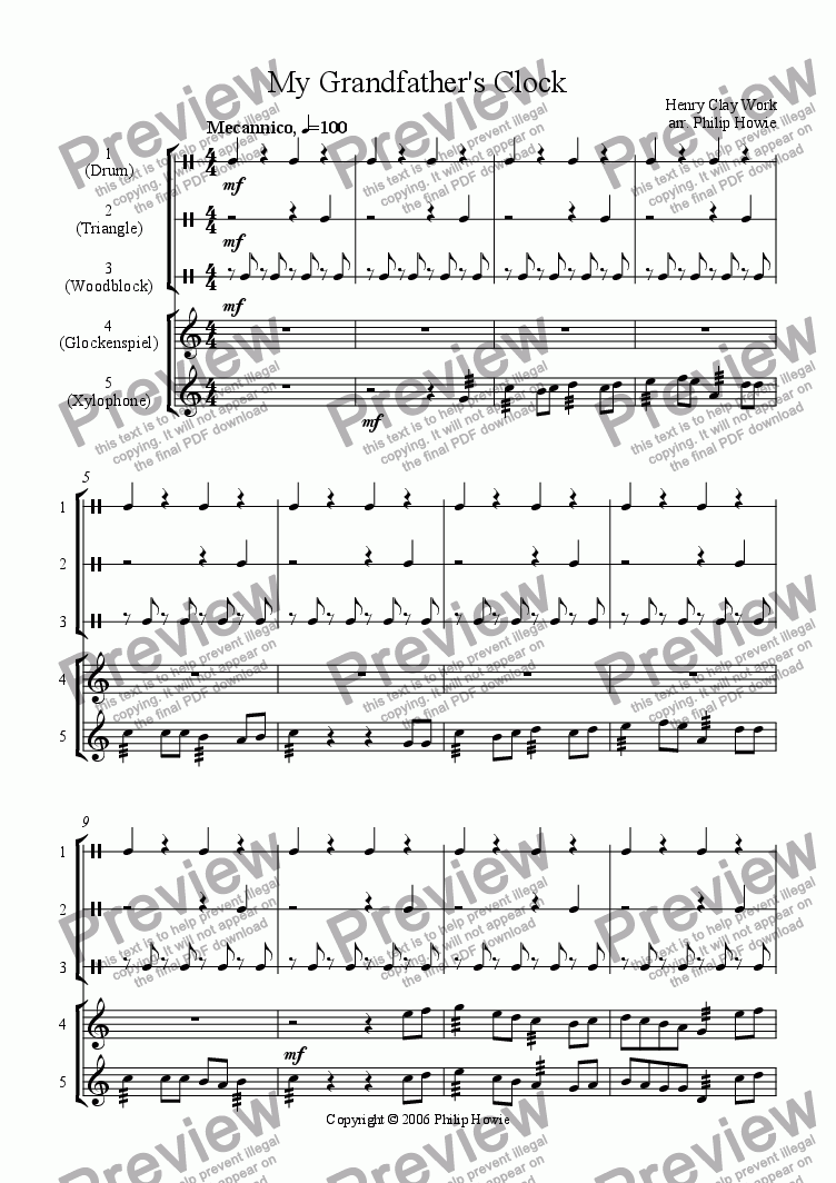My Grandfather's Clock for Percussion ensemble by Henry Clay Work - Sheet  Music PDF file to download