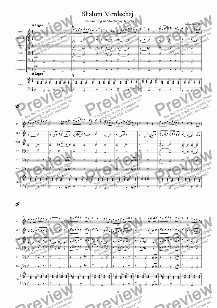 page one of Shalom Mordechaj (School Orchestra)