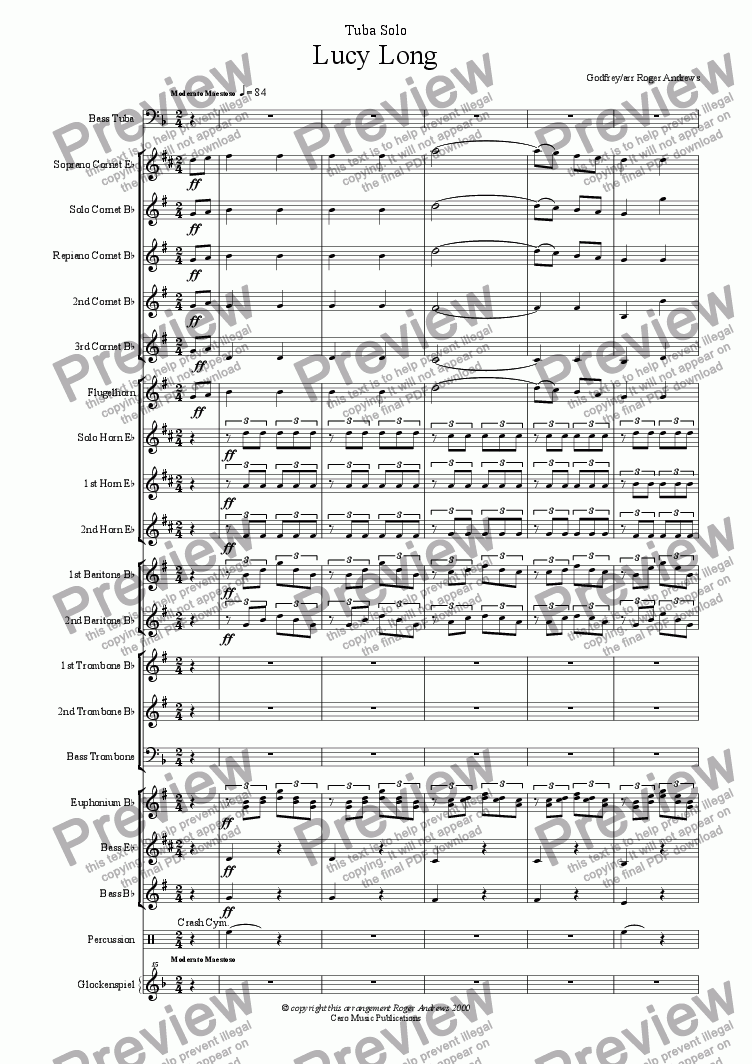 page one of Lucy Long(Solo for Tuba and Brass Band)ASALTTEXT