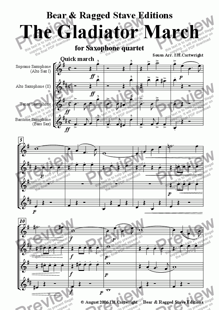 page one of The Gladiator March for saxophone quartet