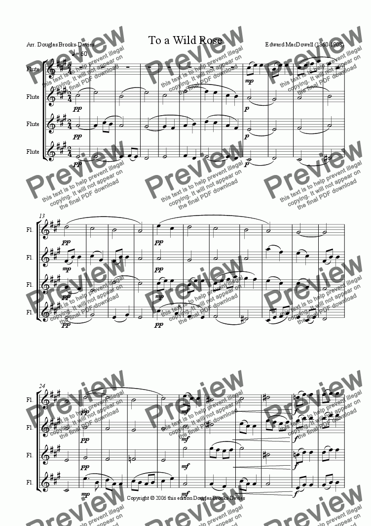 page one of MacDowell: To a Wild Rose, arr. for four C flutes