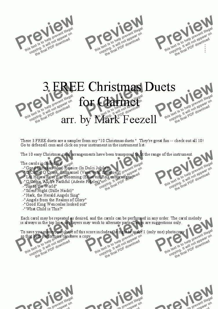 page one of Christmas Music (Clarinet Duets)