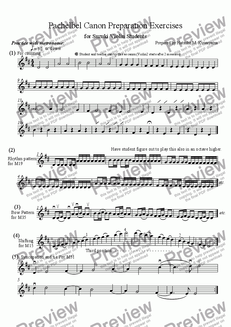 Pachelbel Canon Preparation Exercises for Suzuki Violin Students for Solo  instrument (Solo Violin) by Hatsuho M  Kuwayama - Sheet Music PDF file to