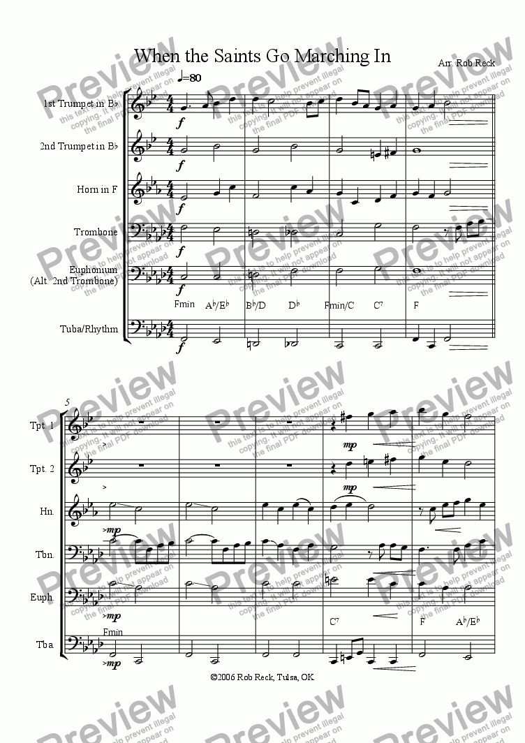 page one of When the Saints Go Marching In (Brass Sextet, Quintet, or Choir