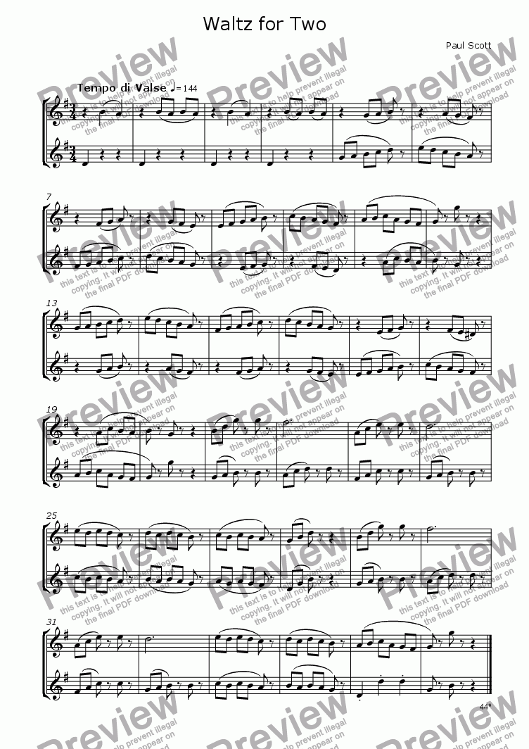 page one of Waltz for Two