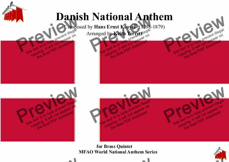 page one of Danish National Anthem for Brass Quintet (MFAO World National Anthem Series)