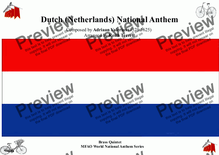 page one of Dutch National Anthem for Brass Quintet (MFAO World National Anthem Series)ASALTTEXT