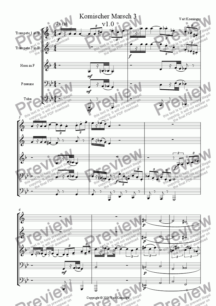 page one of Comical march 3 for brass quintet