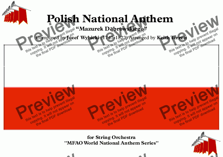 page one of Polish National Anthem for String Orchestra (MFAO World National Anthem Series)